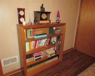 Book Shelf, Books, Antique Clock