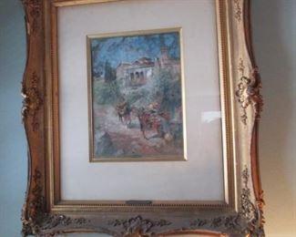 Vincent De Paredes Art with Gold Gilt Frame