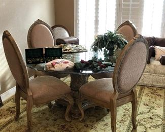 AICO Beveled Glass Pedestal Dining Table and Chairs