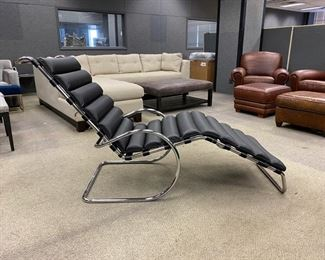 "Knoll Mies Van Der Rohe MR Chaise - Black leather -                   31.75""h x 25.5""w x 70.75"" -  Never Used Was: $3,800.00     Now: $2,850.00                                     (Originally $12,000.00)"