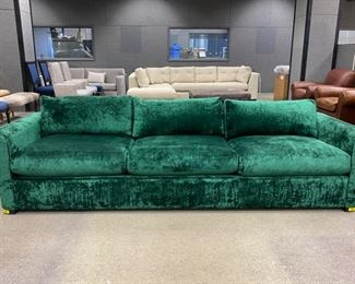 "A. Rudin  sofa in Mokum Bespoke - Emerald                     28""h x 108""w x 31""d     Never Used   Was: $3,200.00      Now: $2,400.00                                        (Originally $11,000.00)"