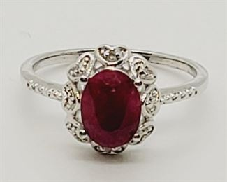 1000 - Sterling silver ruby ring size 7