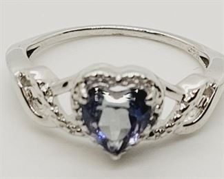 1004 - Sterling silver tanzanite ring size 7