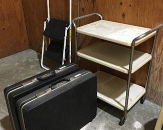 Stepladder, Suitcases, Vintage Barcart