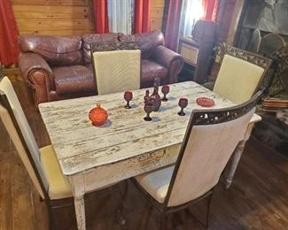 Primitive table, modern chairs