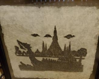 Thai stone rubbing on rice paper one of several