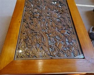 Top of carved wood coffee table