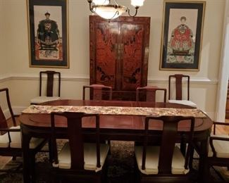 Asian dining room table and chairs