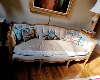 Beige velvet nail head sofa, french style and beautiful. Button tufting