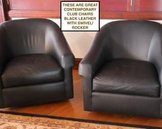 Black Leather Swivel Club Chairs
