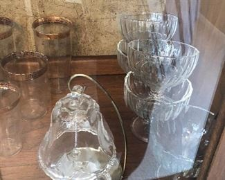 crystal glass bell and glassware