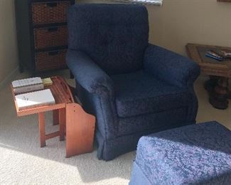 Beautiful, royal blue single chair with foot stool and side table.