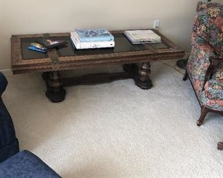 Beautiful Wood Coffee Table with glass top