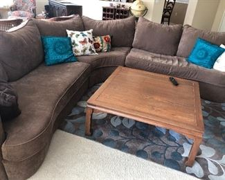 Beautiful wrap around mocha colored couch