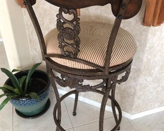 Elegant wrought iron and wood bar stools
