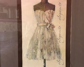 Elegant French-inspired wall art of dress