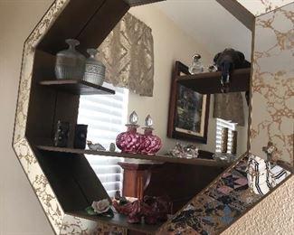 Art Deco Octagon Mirror with storage shelves