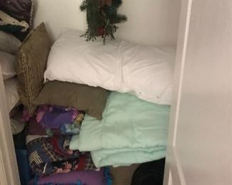 Lots of pillows and blankets