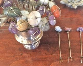 Pickle Fork with Semi Precious Stone $8 each