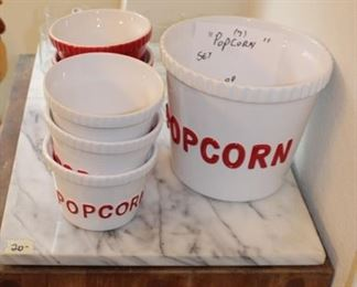 What a great Popcorn set. Also stand is heavy cutting board set on wheels