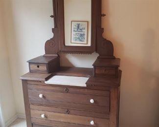 """Antique Dresser w/ Marble top & Mirror measures 39"""" wide, 74"""" tall including mirror height and 18"""" deep. Marble piece does come off and it measures 16"""" x 8"""".  https://ctbids.com/#!/description/share/756667"""