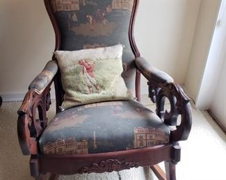"""Abraham Lincoln Style Chair with Golf Themed Upholstery and carved wood design. Pillow included. Measures 24"""" wide x 33"""" deep x 40"""" tall. https://ctbids.com/#!/description/share/756665"""