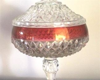 185 - Clear w/ Cranberry Glass Candy Dish
