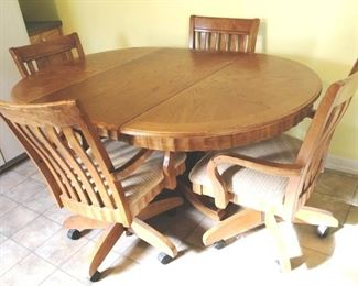 221 - Dining Table w/ 4 Chairs (5 pcs + Leaf)