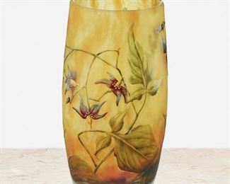 """75 A Daum Cameo Glass """"Orchid"""" Vase First-quarter 20th Century; Nancy, France Signed: Daum Nancy / France [Croix de Lorraine] The acid-etched cameo glass vase cut to mottled orange and yellow frost with enameled orchid motif 4.75"""" H x 2.5"""" Dia. Estimate: $800 - $1,200"""