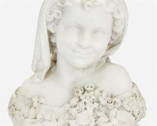 """87 Thomas Ball 1819-1911, American Bust Of A Young Child With Flowers, 1874 White marble Signed and dated: T. Ball / 1874 20"""" H x 13.75"""" W x 9"""" D Estimate: $5,000 - $7,000"""