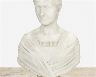 """88 Longworth Nicholas Powers 1835-1904, Italian/American Bust Of A Woman, 1879 Italian white marble Signed and dated: Longworth Powers / Sculp. 1879 26"""" H x 17"""" W x 9"""" D Estimate: $2,000 - $3,000"""