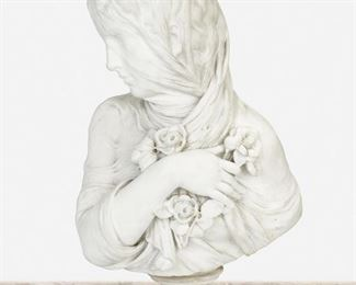 """90 A Marble Bust Of A Veiled Woman Fourth-quarter 19th Century Apparently unsigned The marble bust depicting a veiled woman with one arm resting across her chest holding flowers, raised on a circular plinth Overall: 27"""" H x 16"""" W x 10"""" D Estimate: $1,000 - $2,000"""