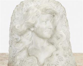"91 Étienne Lenhoir Circa 1880-1910, French Bust Of A Female White marble Signed: Lenhoir 17"" H x 15"" W x 8"" D Estimate: $800 - $1,200"
