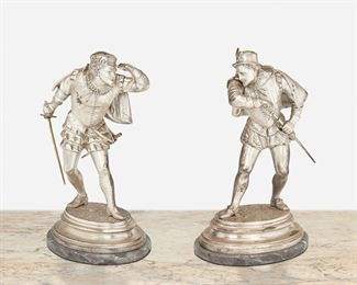 """99 Emile Guillemin 1841-1907, French Two Cavaliers Silvered bronze on marble base Signed: Ele. Guillemin LM Each: 9"""" H x 6"""" W x 4"""" D; Overall: 9.375"""" H x 6"""" W x 4.25"""" D Estimate: $500 - $700"""