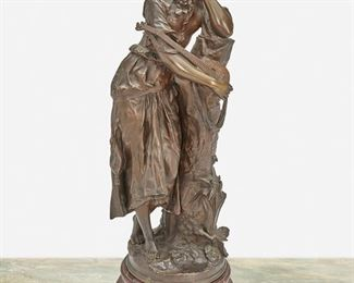 """100 Adrien Étienne Gaudez 1845-1902, French Standing Woman With A Mandolin Patinated bronze on a red marble plinth Signed: A. Gaudez 21.5"""" H x 8.5"""" W x 6"""" D; Overall: 24.5"""" H x 8.5"""" W x 8"""" D Estimate: $800 - $1,200"""