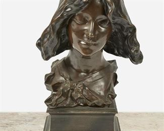 """101 Pierre-Félix Masseau 1869-1937, French Bust Of A Woman With Bow Collar Patinated bronze on bronze plinth Signed: Fix. Masseau 16"""" H x 12.5"""" W x 9"""" D; Overall: 20"""" H x 12.5"""" W x 9"""" D Estimate: $600 - $800"""