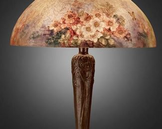 """107 A Handel Reverse-Painted Glass """"Rose Blossom"""" Table Lamp Circa 1919; Meriden, Connecticut Shade signed: Handel Lamps / Pat'd. No. 979664 / Handel / 6688; Base signed: Handel [cloth label] / Handel [incised mark] The domical, chipped ice finished glass shade with reverse-painted polychrome rose blossom and butterfly motifs on a three-light patinated metal tapered base with low relief trees and roots extending over a circular foot, electrified Overall: 23"""" H x 18"""" Dia. Estimate: $2,000 - $3,000"""