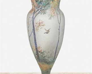 """110 A Handel """"Teroma"""" Glass Vase First-quarter 20th Century; Meriden, Connecticut Signed: Handel / Teroma / 4216 The baluster-form vase in chipped ice and sand-finished glass with obverse-painted enamel woodland scene with swallows in flight 11"""" H x 4.5"""" Dia. Estimate: $700 - $900"""