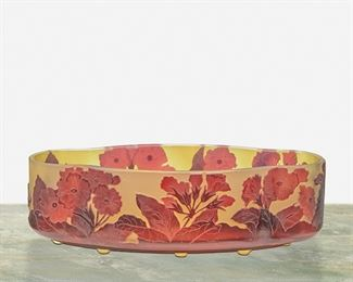 """130 A Gallé Cameo Glass """"Primrose"""" Bowl Late 19th/early 20th Century; Nancy, France Signed: Galle The acid-etched cameo glass four-lobe shaped """"Primrose"""" bowl cut from red to green frost 3"""" H x 10"""" W x 5.25"""" D Estimate: $600 - $800"""