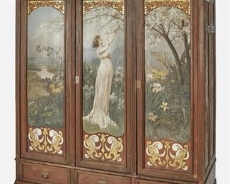 """176 An Art Nouveau Hand-Painted Armoire Late 19th/early 20th Century The pine armoire with cavetto molding atop a three-door, two-cupboard cabinet with hand-painted doors with figural panels depicting a woman in a spring landscape, floral and ornamented borders, and floral side panels over three drawers raised on eight block feet 83"""" H x 72"""" W x 26"""" D Estimate: $2,000 - $3,000"""