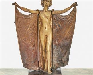 "177 Carl Kauba 1865-1922, Austrian ""Open Sesame"" Mechanical Nude Figure, First-Quarter 20th Century Patinated bronze Signed: C. Kauba 6.75"" H x 5.5"" W x 2.75"" D; Overall: 8.25"" H x 5.5"" W x 2.875"" D Estimate: $1,000 - $1,500"