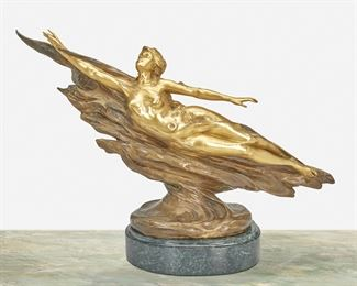 """178 Charles Louchet 1854-1936, French """"Naïade,"""" 1899 Gilt and patinated bronze on marble base Signed and dated: C. H. Louchet, Salon de 1899; Further marked: 6006 13"""" H x 25"""" W x 5"""" D Estimate: $800 - $1,200"""