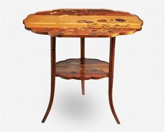 """182 A Gallé Two-Tiered Marquetry Table Circa 1885-1904; Nancy, France Inscribed signature: Emile Galle / Nancy / EG / [Croix de Lorraine] The two-tiered table with shaped top over a narrowing undershelf, each with marquetry flowers, raised overall on four straight legs with flared feet, the upper tier with fitted glass top 29"""" H x 34.5"""" W x 24.5"""" D Estimate: $1,500 - $2,000"""