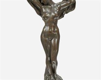 "186 Jef Lambeaux 1852-1908, Belgian ""Le Nuit"" Patinated bronze Signed and numbered: J. Lambeaux / 6 35"" H x 14.5"" W x 7"" D Estimate: $1,000 - $1,500"