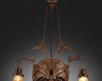 """198 An Art Nouveau Patinated Metal Chandelier First-quarter 20th Century The three-light patinated metal chandelier with canopy, triform column, and repousse floral skirt issuing three arms terminating in green iridescent Bohemian glass shades with pulled feather motif, electrified 42"""" H x 26"""" Dia. Estimate: $800 - $1,200"""