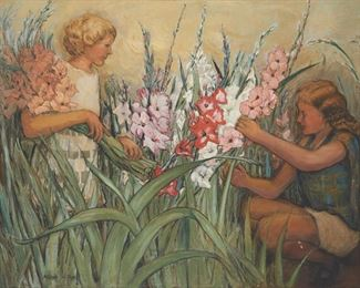 """221 Marion Holden Pope 1872-1958, San Francisco, CA Two Girls Picking Flowers Oil on canvas Signed lower left: Marion H. Pope 31.75"""" H x 42"""" W Estimate: $800 - $1,200"""