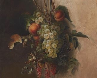 """222 19th Century Belgian School Still life with hanging fruit and leaves, 1864 Oil on canvas Signed and dated lower left: C.A. van Belle, titled illegibly on the stretcher 18.25"""" H x 15"""" W    Estimate: $1,000 - $2,000"""