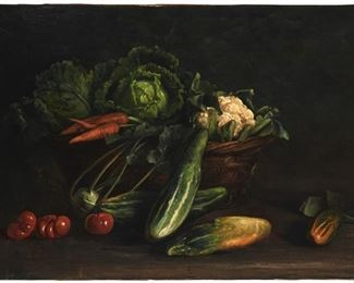 """223 Georg Bernhard Liebig 1873-1937, German Still Life With Basket Of Vegetables, 1905 Oil on canvas laid to canvas Signed and dated lower left: Bernd. Liebig 27.25"""" H x 37.75"""" W Estimate: $700 - $900"""
