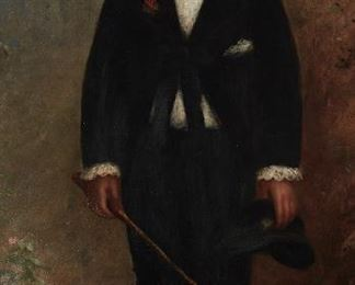 """224 19th Century American School Portrait of a boy standing in a suit Oil on canvas Unsigned 53.25"""" H x 26.5"""" W Estimate: $2,000 - $3,000"""