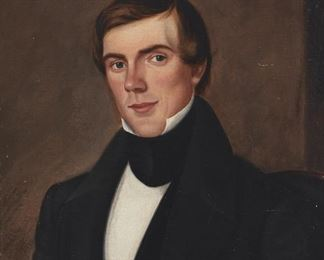 """226 19th Century English School Portrait of a gentleman Oil on canvas laid to board Signed upper right: J. F. Earl 24"""" H x 20"""" W Estimate: $600 - $800"""